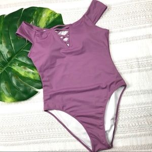 3/$30 PINK VS |One Piece Off The Shoulder Swimsuit